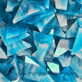 Gekleurde glasscherven Wispy Aqua - Wit Y401w
