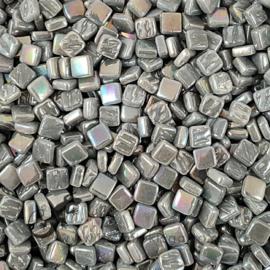 Mozaiek tegeltjes glas 8 x 8 mm Parelmoer per 50 gram Middengrijs 047