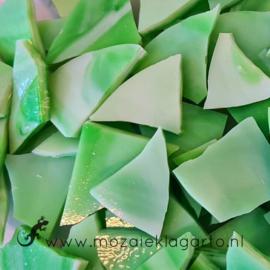 Gekleurde glasscherven Semi Translucent Groen - Wit Y98st