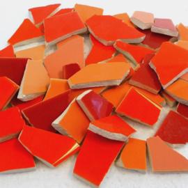 Mozaïek tegelscherven voor BINNEN per 750 gram Oranje mix