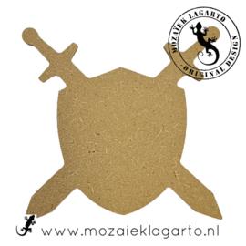Ondergrond voor mozaiek MDF Schild met zwaarden 023
