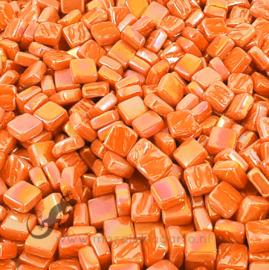 Mozaiek tegeltjes glas 8 x 8 mm Parelmoer per 50 gram Oranje 104P