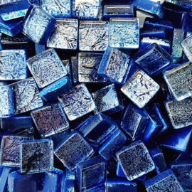 Glasmozaiek folie 1 x 1 cm per 50 gram Kobaltblauw 1005