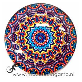 Cabochon/Plaksteen Glas 30 mm Mandala  Blauw - Geel  - Rood 40213