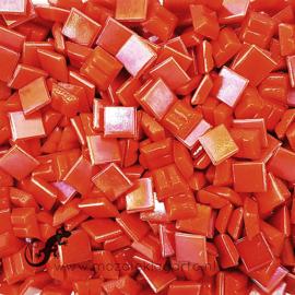 Mozaiek glastegeltjes 1 x 1 cm Parelmoer Oranjerood 095