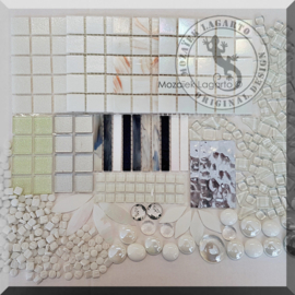 Glasmozaiek mix Wit in cadeautasje 25-10