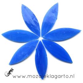 Bloemblaadjes Tiffanyglas 16x50x3 mm per 7 Blauw 030-2