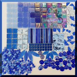 Mozaiekglas mix Blauw in cadeautasje 25-2