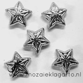 Decoratie sterretjes Zilverkleur 1 cm per 5
