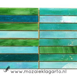 Tiffany glas reepjes 1x6.5 cm per 10 Zeegroen 016