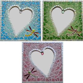 Mozaiekpakket 50 Spiegel Hartelief 3 kleuren