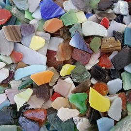 Gekleurde glasscherven  Bonte Getrommelde Mix 200 gram 041