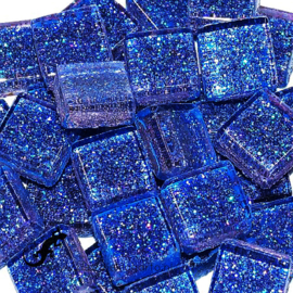 Glasmozaiek glitter 1 x 1 cm per 50 gram Blauw 81-10