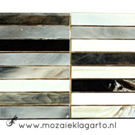 Tiffany glas reepjes 1x6.5 cm per 10 Zwart/Wit/Grijs 012