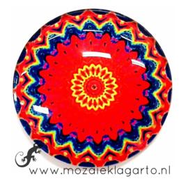 Cabochon/Plaksteen Glas 30 mm Mandala Blauw - Rood 40220