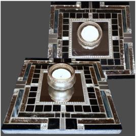 Mozaiek Spiegel/Waxinehouder Zwart 005