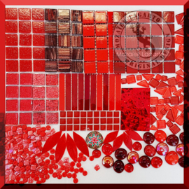 Glasmozaiek mix Rood in cadeautasje 25-8