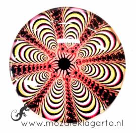 Cabochon/Plaksteen Glas 30 mm Mandala Crème - Roze 40217