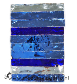 Tiffany Spiegelglas reepjes 1x6.5 cm per 10 Blauw 001