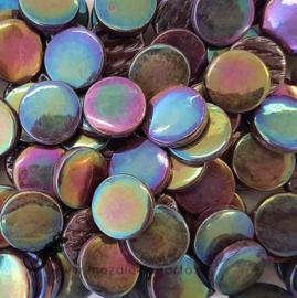 Glastegel Rond 18 mm Parelmoerper 50 gram  Donkerbruin 100P