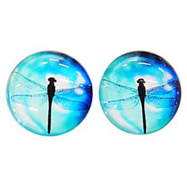 Cabochon/Plaksteen Glas 25 mm per 2 Libelle 1309