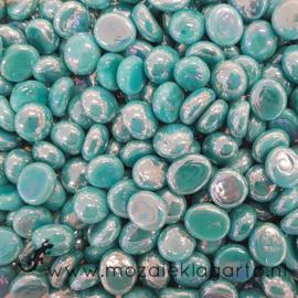Glas Nugget Mini 9-13 mm Opaal Iriserend 50 gram Zeegroen 4375