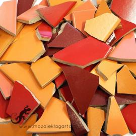 Mozaiek tegel scherven voor BINNEN EN BUITEN 1 kilo Rode/Oranje Mix 005
