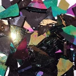 Gekleurde glasscherven Iriserend Zwart CAG015i