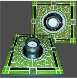 Mozaiek Spiegel/Waxinehouder Groen 001