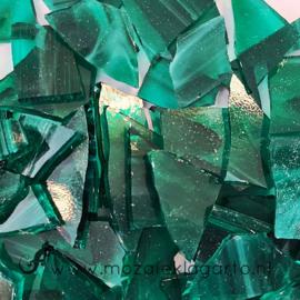 Gekleurde glasscherven  Wispy Zeegroen - Wit SO823-92w