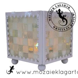 Mozaiekpakket 10 Waxinelichthouder Carré Wit