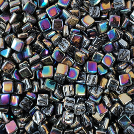 Mozaiek tegeltjes glas 8 x 8 mm Parelmoer per 50 gram Zwart 049