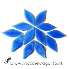 Bloemblaadjes Tiffanyglas 15x38x3 mm per 12 Blauw 030-1