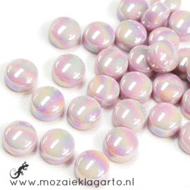 Glasdruppel Rond 12 mm per 50 gram Parelmoer Pastel Roze 009P