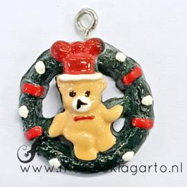 Decoratie Beertje in kerstkrans rond 2 cm
