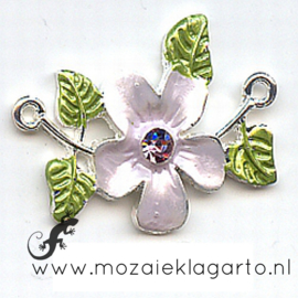 Decoratie tussenzetsel met bloem en strass steentje 3.5 x 2.5 cm