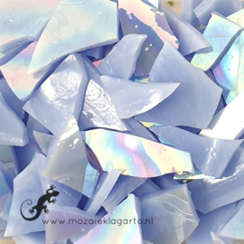 Gekleurde glasscherven Iriserend Lichtblauw gewelfd CAG314i