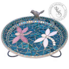 Mozaiekpakket 39 Vogelbadje  Zeegroen-Roze-Wit
