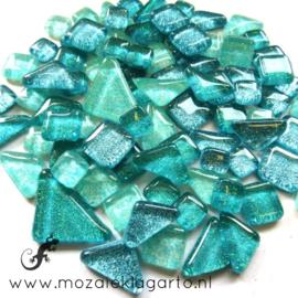 Glas Puzzelstukjes Glitter  Mix 100 gram Zeegroen 873