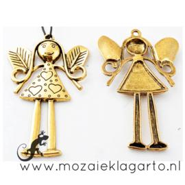 Hanger Engel metaal goudkleurig 81 x 53 mm