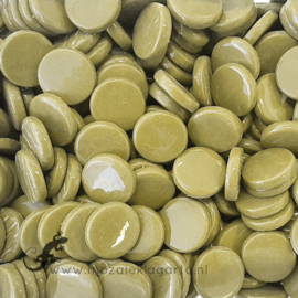 Glastegel Rond 18 mm Olijfgroen per 50 gram 044