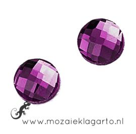 Glas facet geslepen rond 20 mm per 2  Violet 703