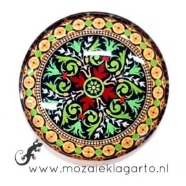 Cabochon/Plaksteen Glas 30 mm Mandala Groen - Geel 40215