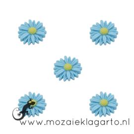 Decoratiesteen kunststof  22 mm bloem per 5 Blauw 20863
