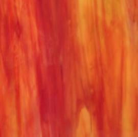 Glasplaat 20 x 20 cm  Rood -Oranje - Wit Wispy W027w