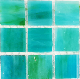 Tiffany glastegels 2x2 cm per 25 Licht Zeegroen 104