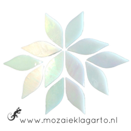 Bloemblaadjes Tiffanyglas 16x50x3 mm per 7 Wit Iriserend 001-2