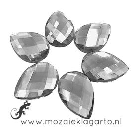 Glas facet geslepen bloemblaadje 13x18 mm per 6  Kristal 800