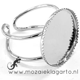 Ring verstelbaar metaal voor 18 mm plaksteen