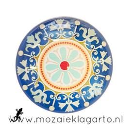 Cabochon/Plaksteen Glas 30 mm Mandala Blauw/Aqua 5015